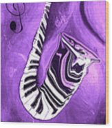 Piano Keys In A Saxophone Purple - Music In Motion Wood Print