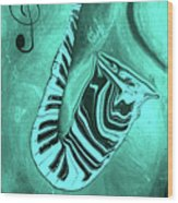 Piano Keys In A  Saxophone Teal Music In Motion Wood Print