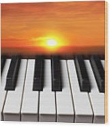 Piano Sunset Wood Print by Garry Gay