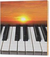 Piano Sunset Wood Print