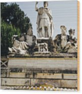 Piazza Del Popolo Fountain Wood Print