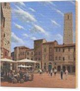 Piazza Della Cisterna San Gimignano Tuscany Wood Print