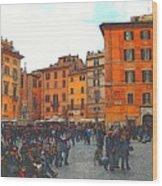 Piazza Della Rotunda In Rome 2 Wood Print by Jen White