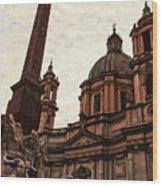 Piazza Navona At Sunset, Rome Wood Print