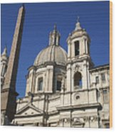 Piazza Navona. Navona Place. Church St. Angnese In Agona And Egyptian Obelisk. Rome Wood Print