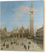 Piazza San Marco Looking Towards The Basilica Di San Marco  Wood Print