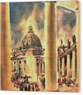 Piazza San Pietro In Roma Italy Wood Print