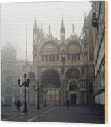 Piazzetta San Marco In Venice In The Morning Fog Wood Print