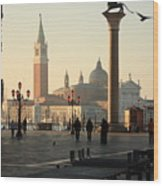 Piazzetta San Marco In Venice In The Morning Wood Print