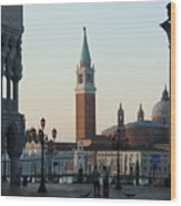 Piazzetta San Marco In Venice In The Morning With Sweepers Wood Print