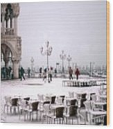 Piazzetta San Marco In Venice In The Snow Wood Print
