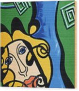 Picasso Influence With A Greek Twist Wood Print