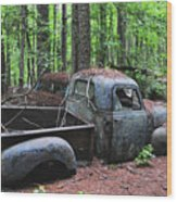 Pick Up Truck In The Woods Wood Print