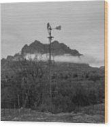 Picket Post Windmill Bw Wood Print