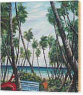 Picking Coconuts .. Mayaro Wood Print