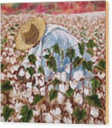 Picking Cotton Wood Print by Barbel Amos