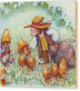 Picking Mushrooms Wood Print