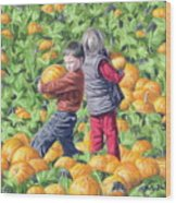 Picking Pumpkins Wood Print