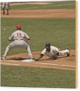 Pickoff Move To 1st Base Wood Print
