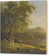 Picnic By The Lake Wood Print