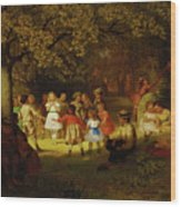 Picnic Party In The Woods Wood Print