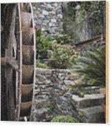 Pictueresque Waterwheel In Cinqueterre Garden Wood Print
