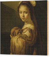 Picture Of A Young Girl Wood Print by Govaert Flinck