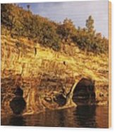 Pictured Rocks Caves Wood Print
