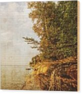 Pictured Rocks Water Wood Print