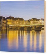 Picturesque Basel At Night Wood Print