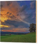 Picturesque Rural Sunset Wood Print