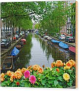 Picturesque View Amsterdam Holland Canal Flowers Wood Print