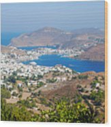 Picturesque View Of Skala Greece On Patmos Island Wood Print