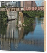 Picturesque View Of The Railroad Graffiti Bridge Over Lady Bird Lake As Canoes And Kayakers Paddle Under The Bridge On A Beautiful Summers Day Wood Print