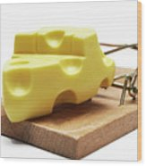 Piece Of Cheese In Mouse Trap Wood Print by Sami Sarkis