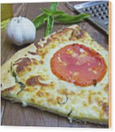 Piece Of Margarita Pizza With Ingredients Wood Print