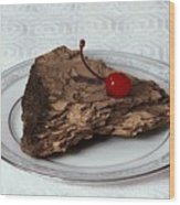 Piece Of Pine Cake With Cherry. Wood Print