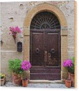 Pienza Doorway Wood Print