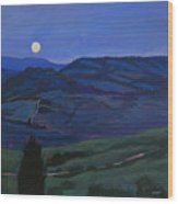 Pienza Moon Wood Print