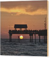Pier 60 Clearwater Beach - Watching The Sunset Wood Print