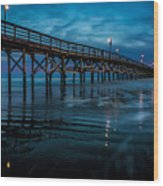 Pier At Dusk Wood Print
