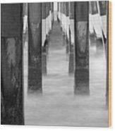 Pier At High Tide Wood Print