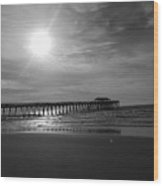 Pier At Myrtle Beach In Black And White Wood Print