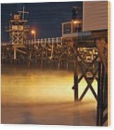 Pier At Night Wood Print