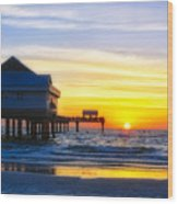 Pier  At Sunset Clearwater Beach Florida Wood Print by George Oze