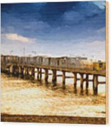 Pier At Sunset Oil Painting Photograph Wood Print