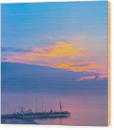 Pier Before Sunrise Wood Print