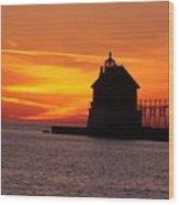 Pier Fire- Btbutler Wood Print