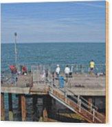 Pier Fishing At Llandudno Wood Print