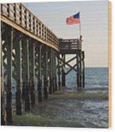 Pier, Flag, Fishing Wood Print
